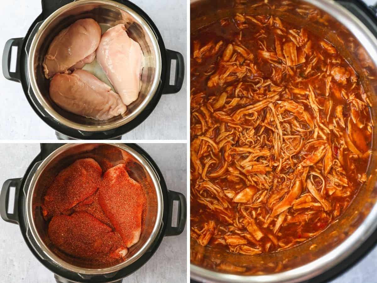 A collage with 3 images on how to Make Shredded Chicken in the Instant Pot