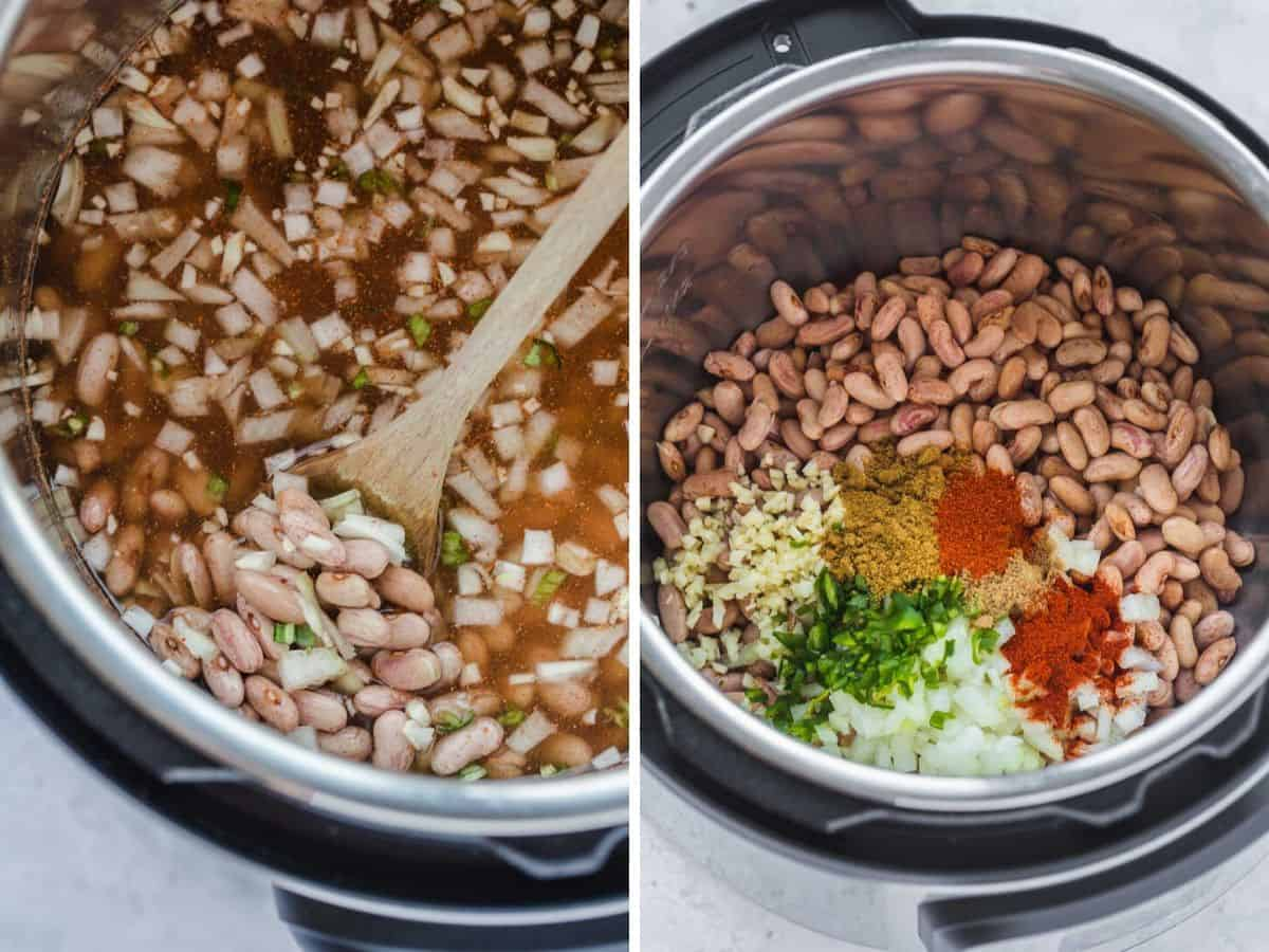 A collage of 2 images to show how to cook Instant Pot pinto beans