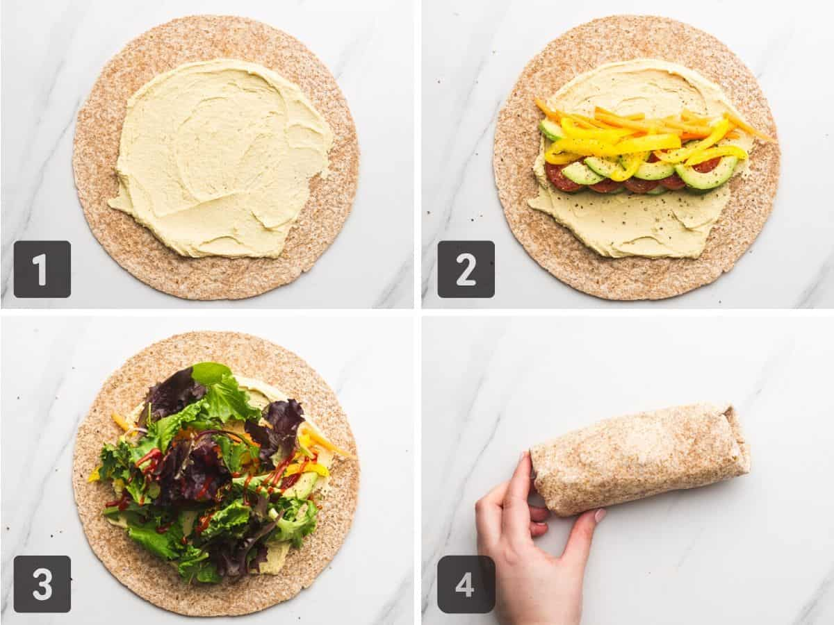 The directions on how to make hummus wraps