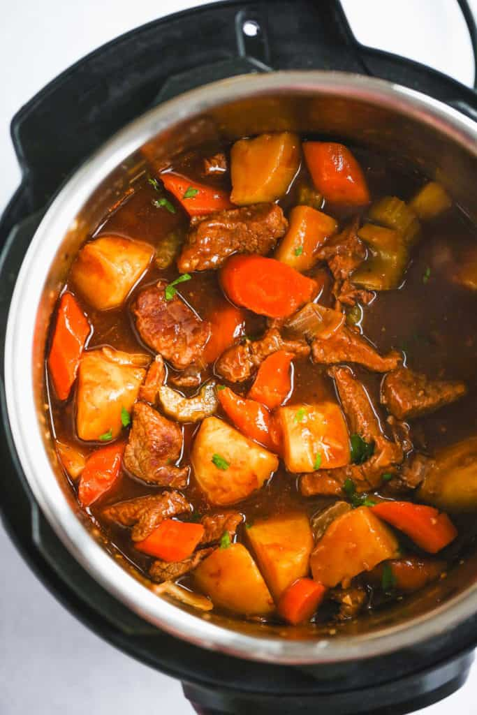 A close up of beef stew ready in the Instant Pot