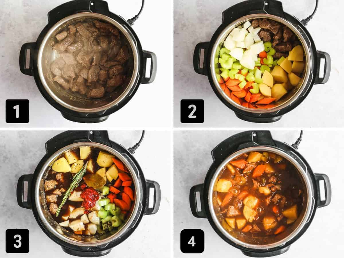 A collage with 4 images on how to make beef stew in the Instant Pot