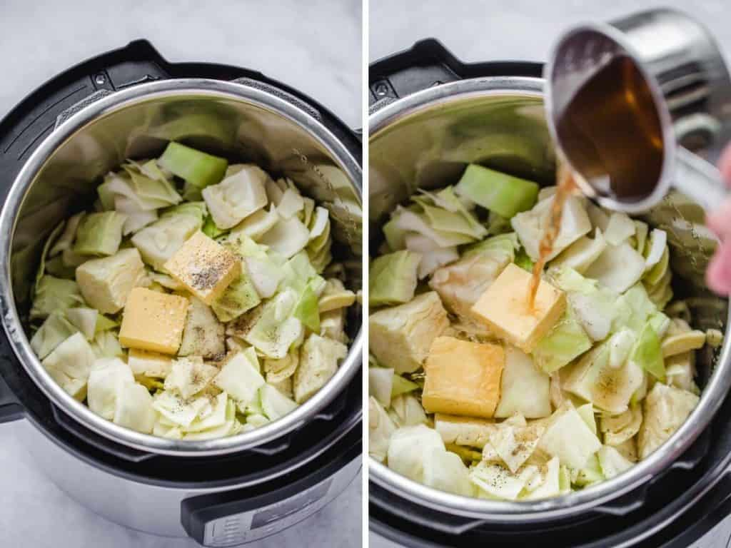 2 steps on how to make buttered cabbage in the Instant Pot