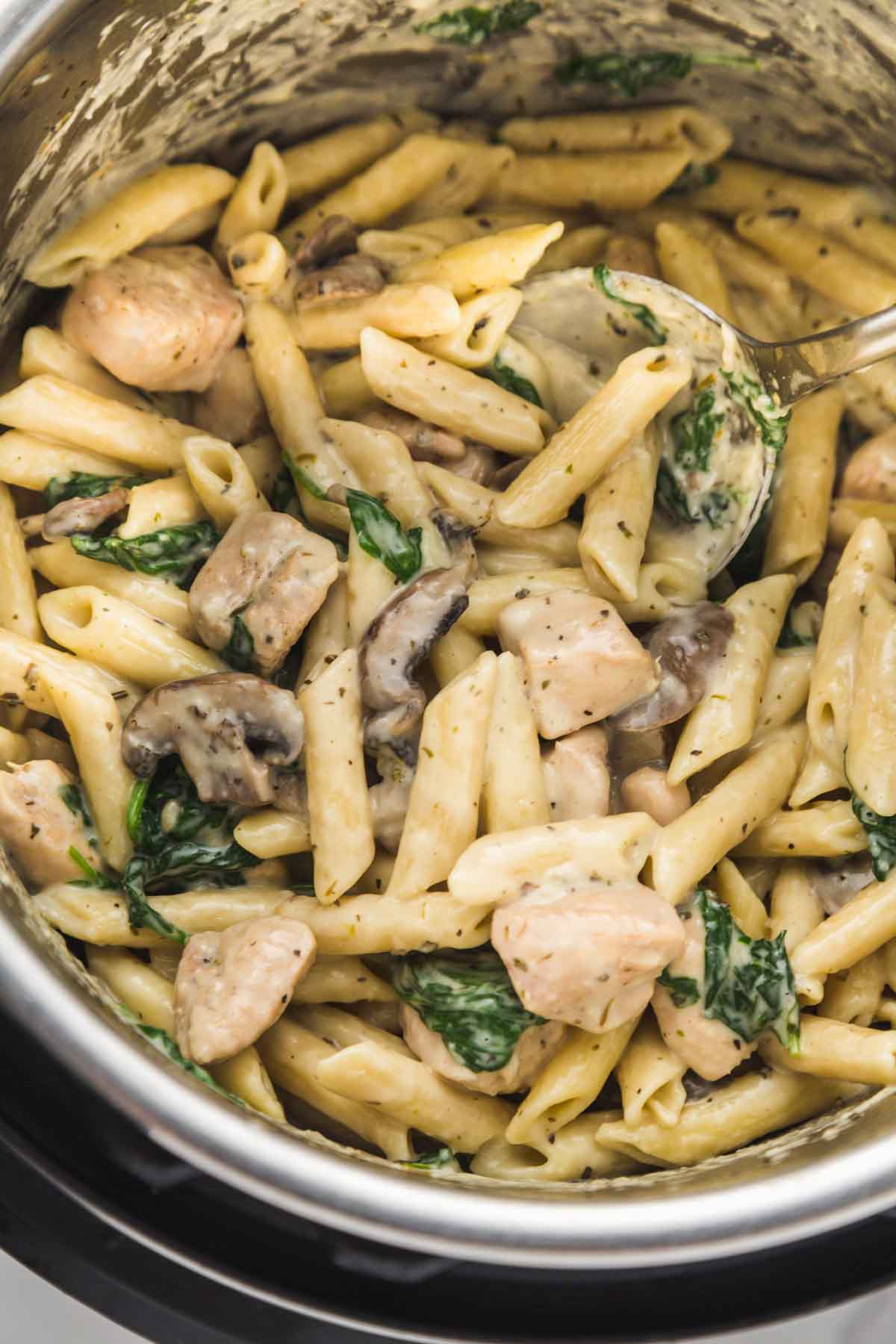 Chicken florentine pasta in the Instant Pot
