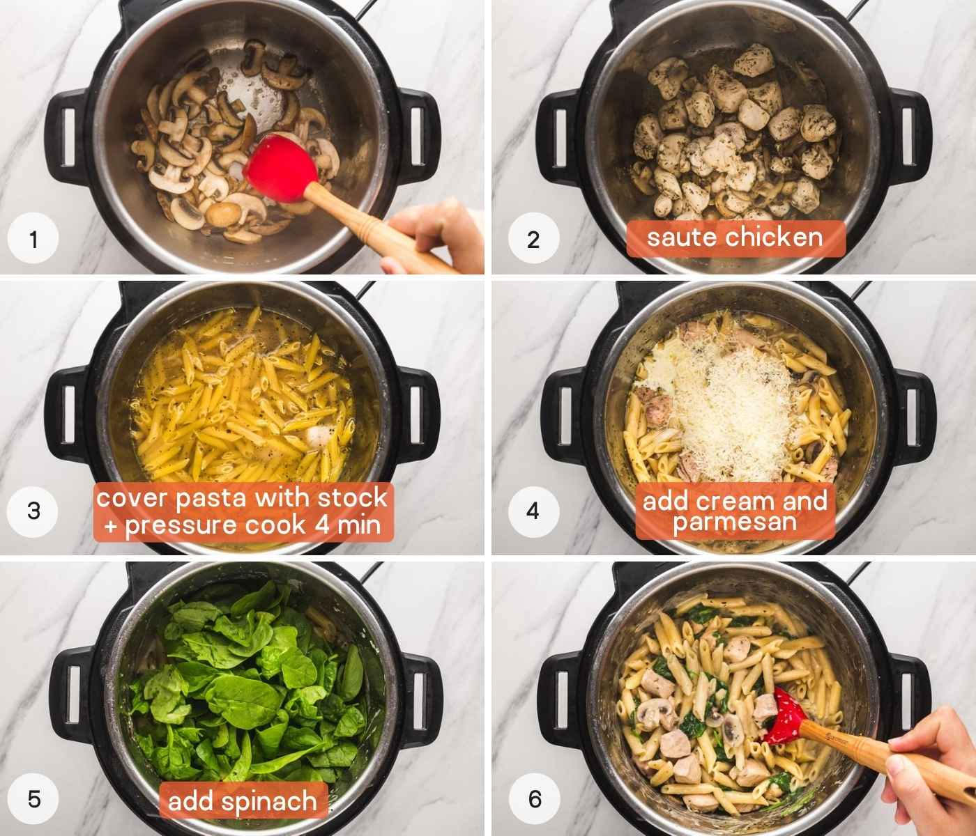 how to make Instant Pot chicken florentine - step by step collage