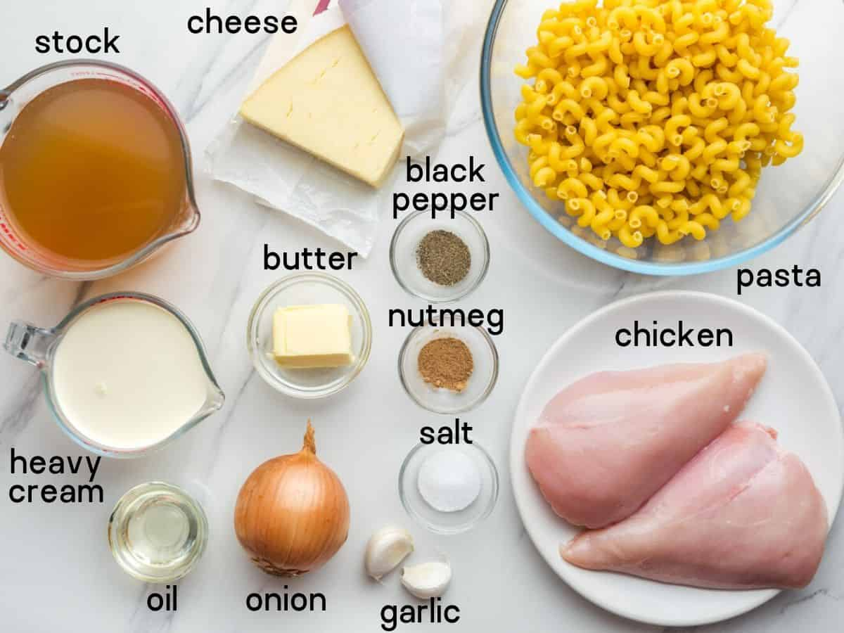 Instant Pot Chicken Mac and Cheese ingredients