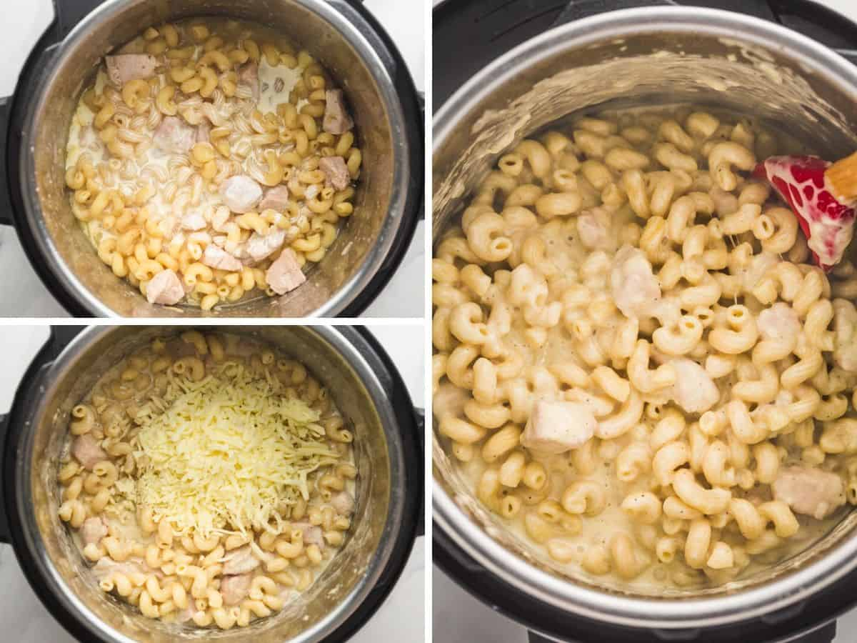 Instant Pot Chicken Mac and Cheese steps - 3 images in a collage