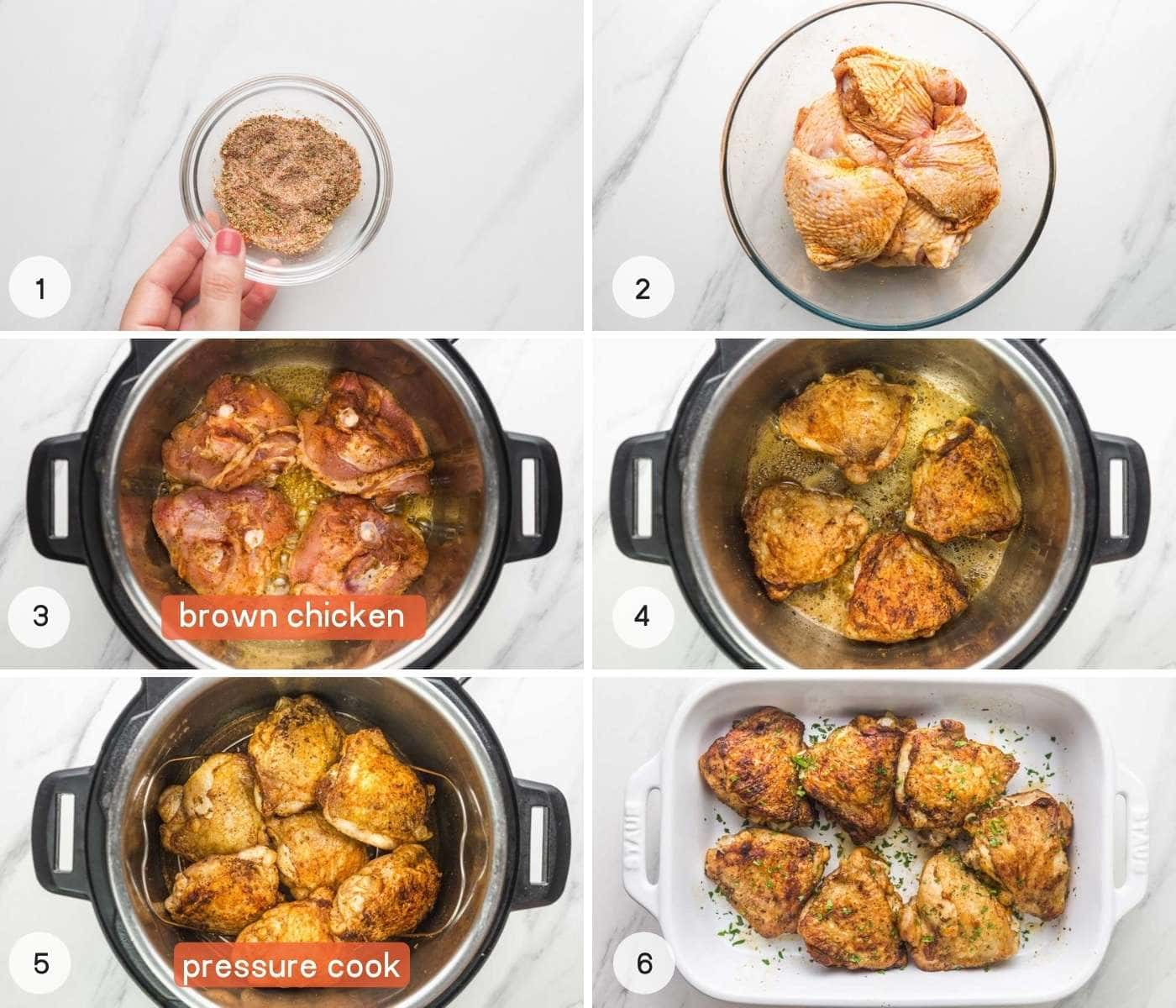 Steps on how to cook chicken thighs in the instant pot