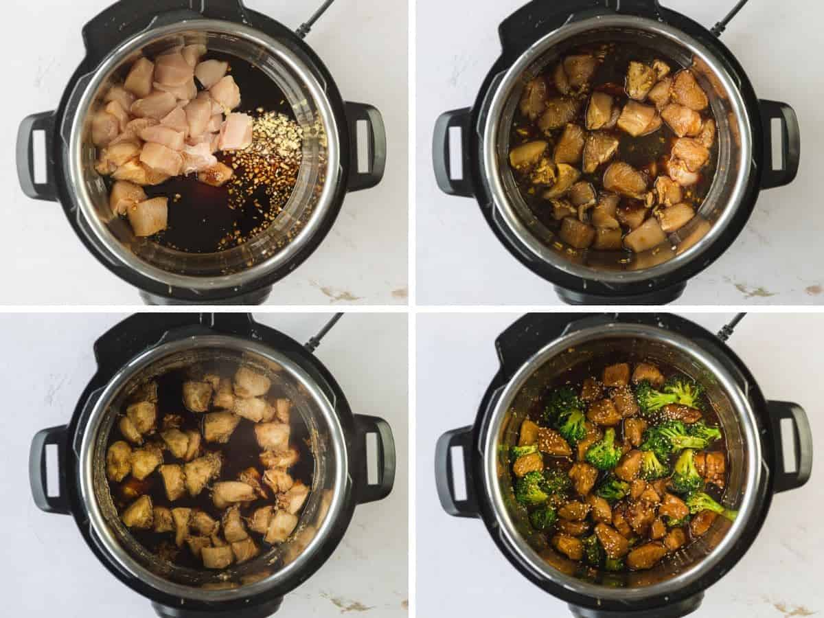 A collage of 4 images on how to make Chinese chicken and broccoli