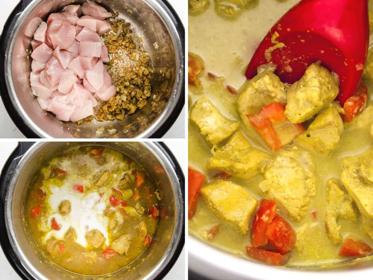 3 steps on how to make Instant Pot Coconut Chicken Curry