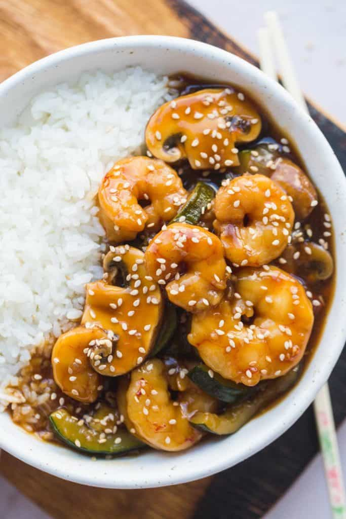Shrimp hibachi served with white rice in a bowl