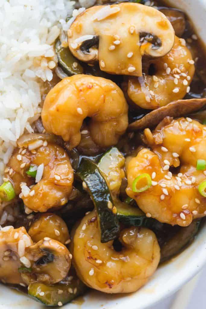 A close up shot of the shrimp hibachi