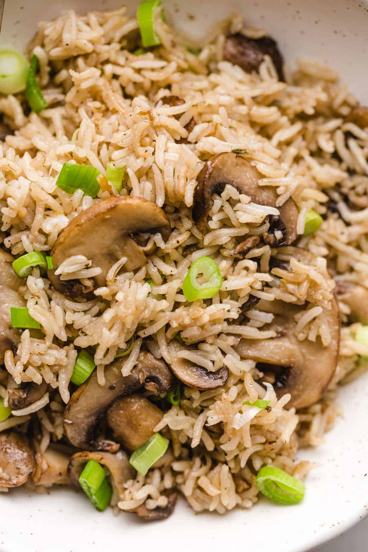 A close up shot of mushroom rice garnished with sliced green onions