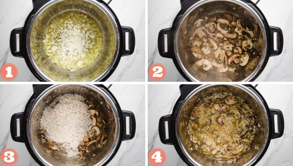 A collage with 4 images on how to make mushroom rice in the instant pot