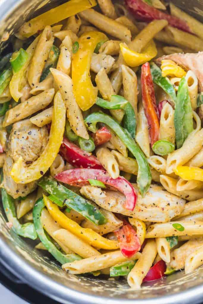 A close up shot of Rasta Pasta to show the creaminess of the dish