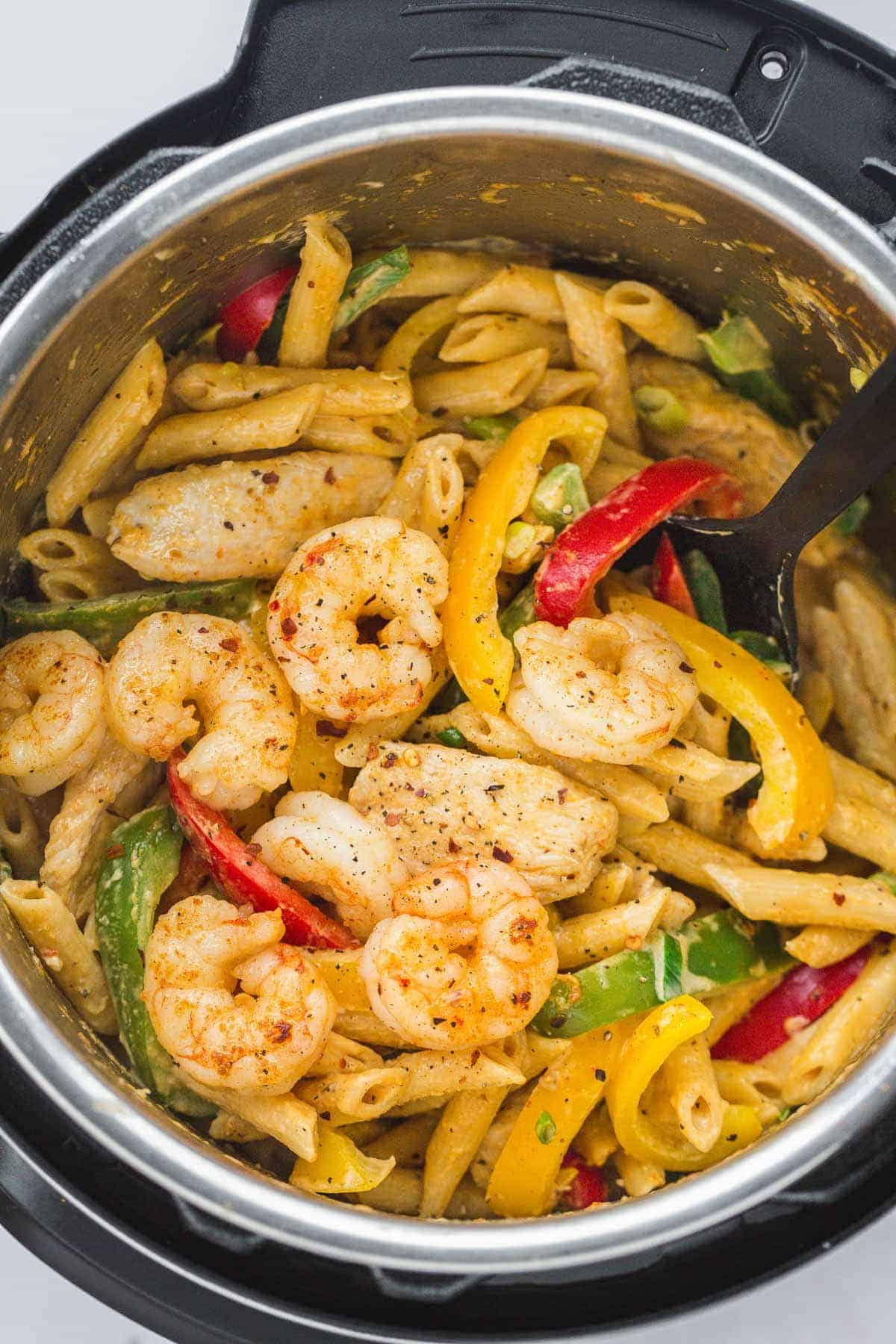 Rasta Pasta in the instant pot with chicken and shrimp