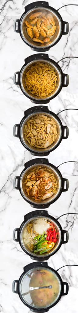 The process shots of how to make Rasta Pasta in the instant pot