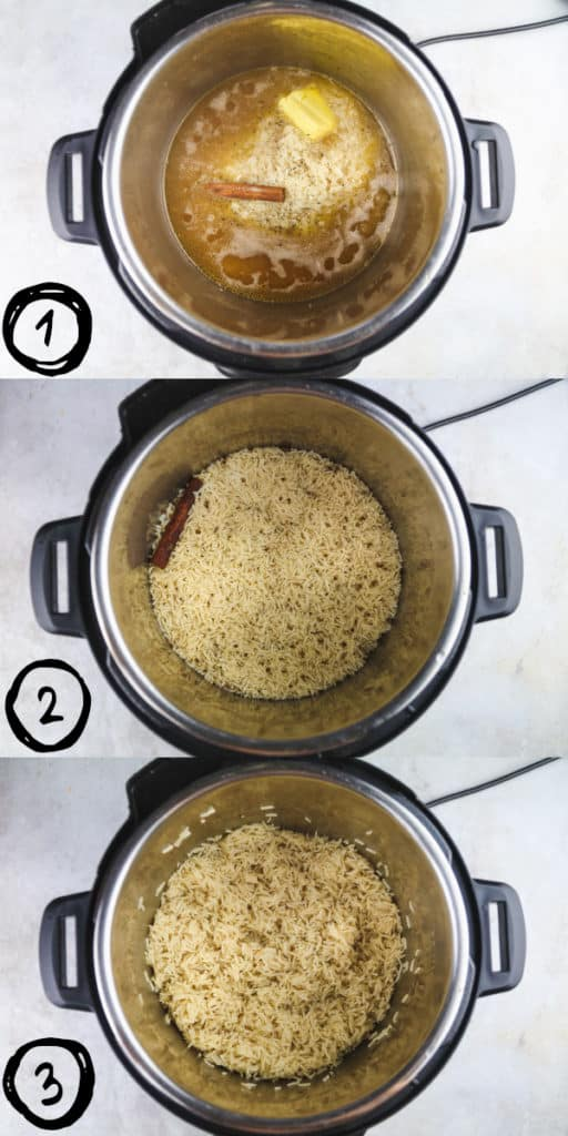 Step by step images of how to make rice in the instant pot