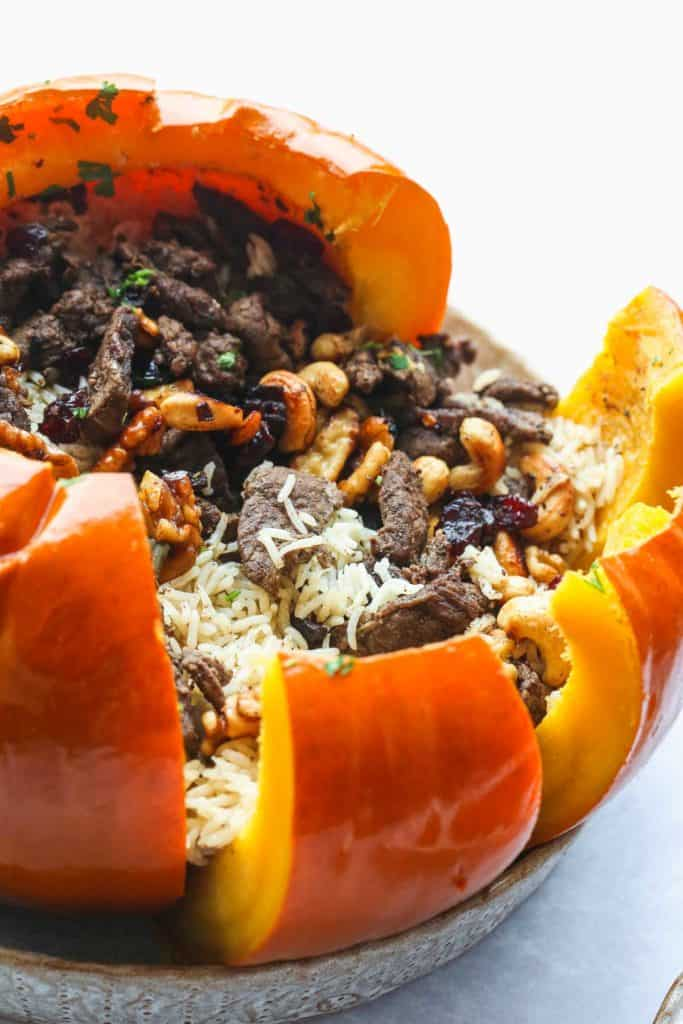 A side close up of the instant pot stuffed pumpkin