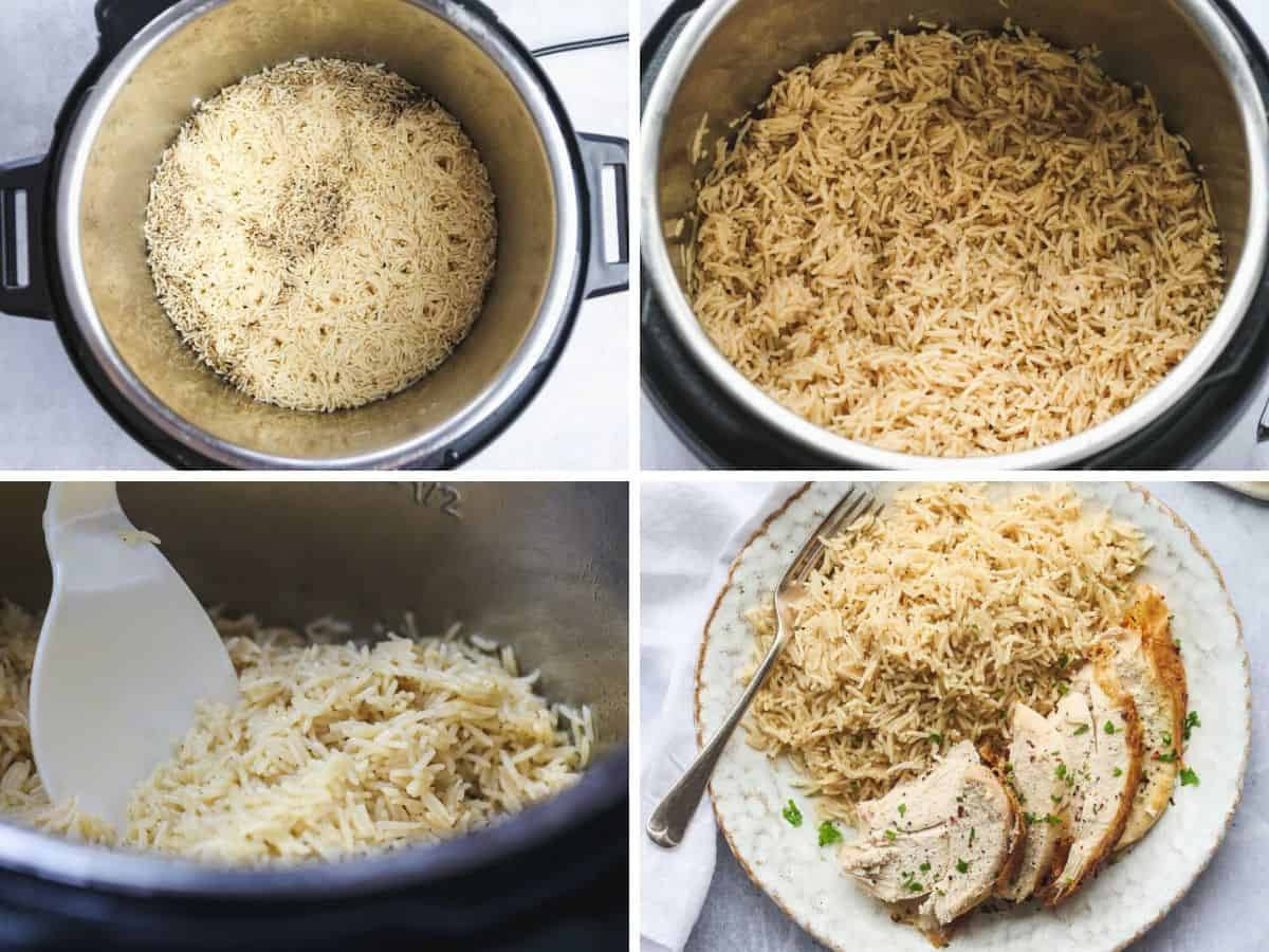 How to Make Rice Using the Whole Chicken Broth in the Instant Pot - a collage with 4 images