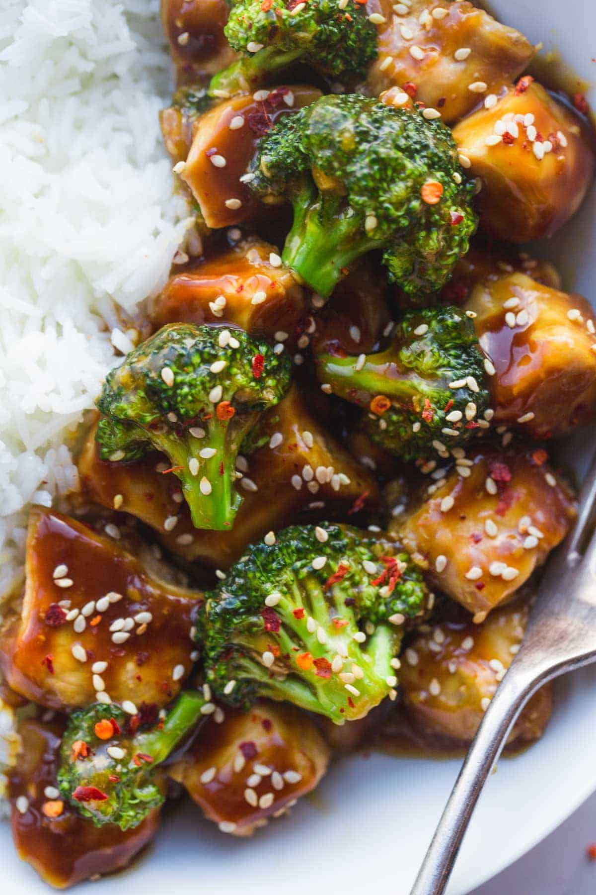 Instant Pot Chinese Chicken and broccoli - close up shot