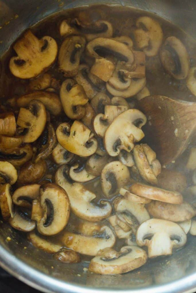 Cooking the mushrooms in the Instant Pot