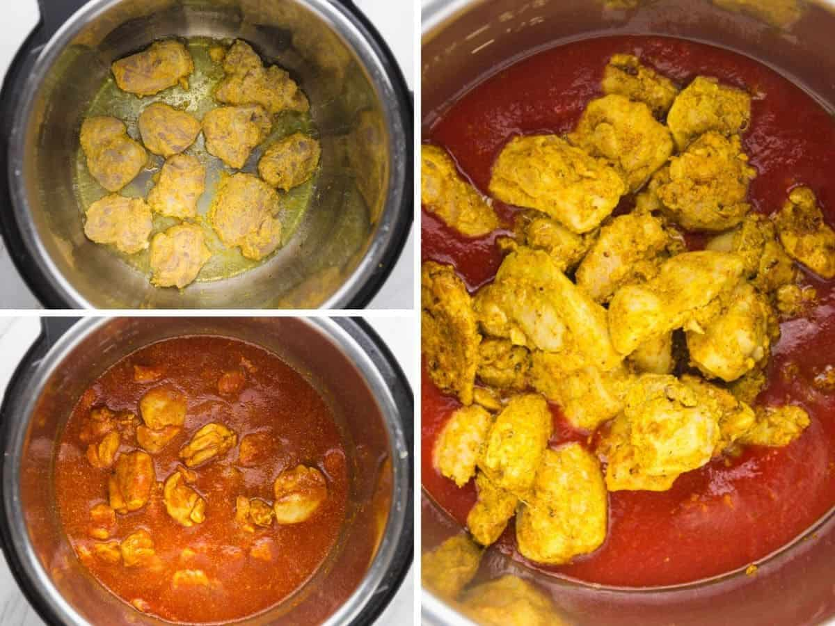 3 images with steps on how to make chicken tikka masala in the instant pot
