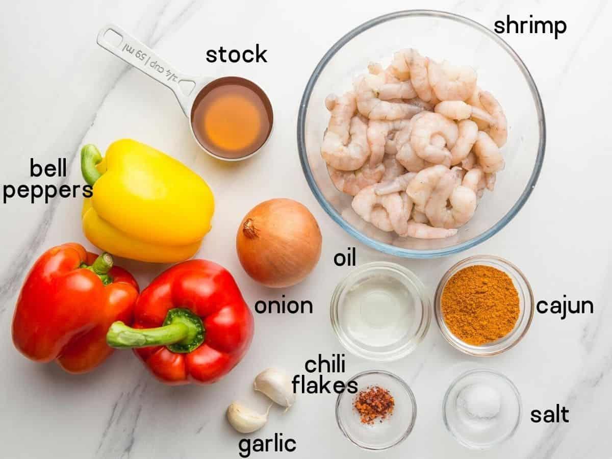 Instant Pot Spicy Cajun Pepper Shrimp ingredients