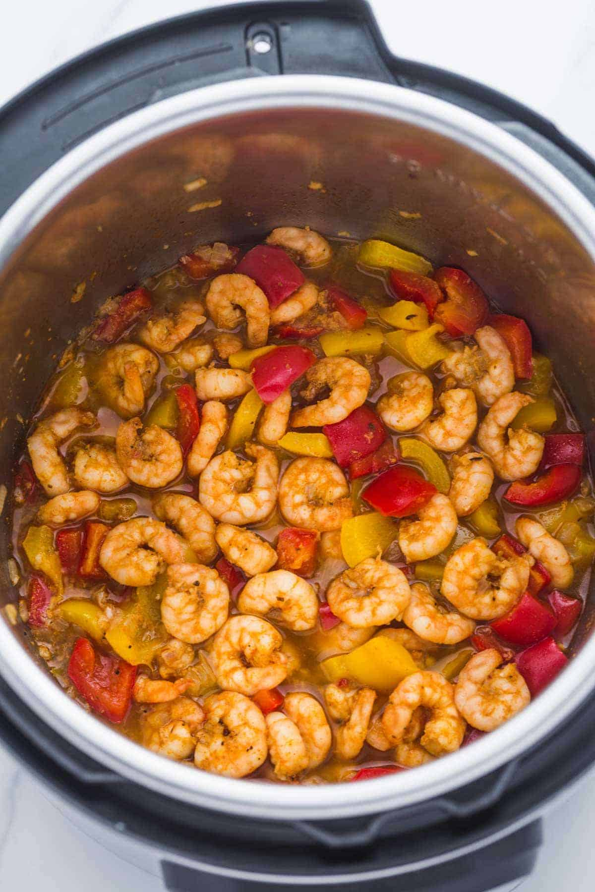 Cooked Instant Pot Spicy Cajun Pepper Shrimp in the pressure cooker