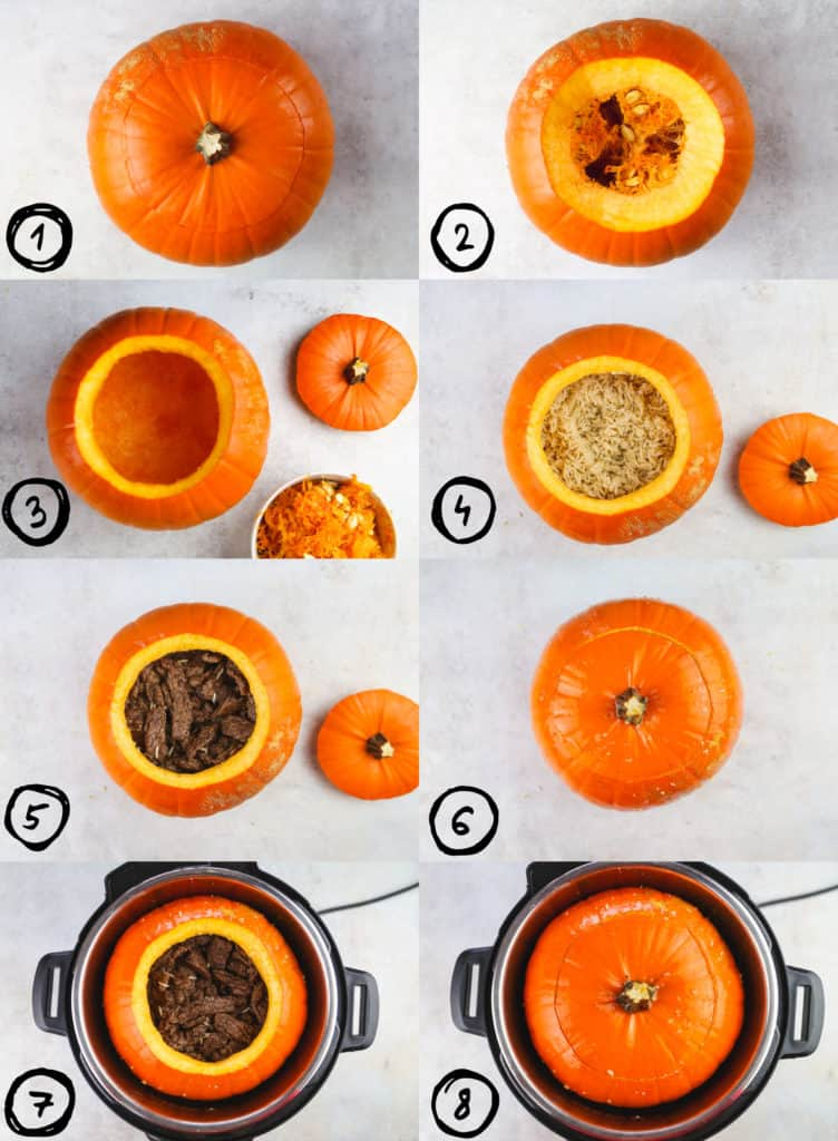 steps by step images of how to make instant pot stuffed pumpkin. Starting from cutting the pumpkin and clearing it from seeds and strings, to stuffing and cooking it in the instant pot