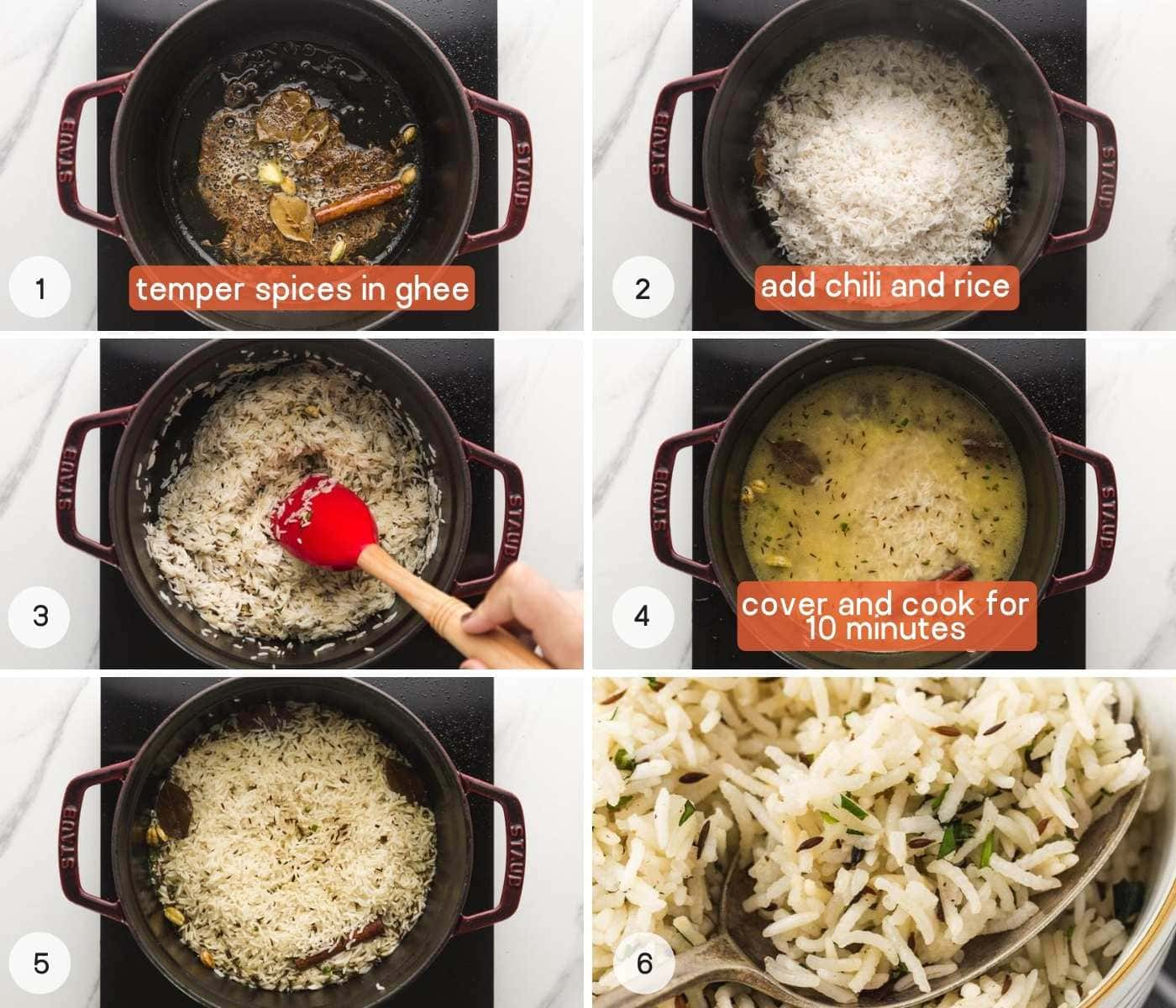 Directions how to make jeera rice