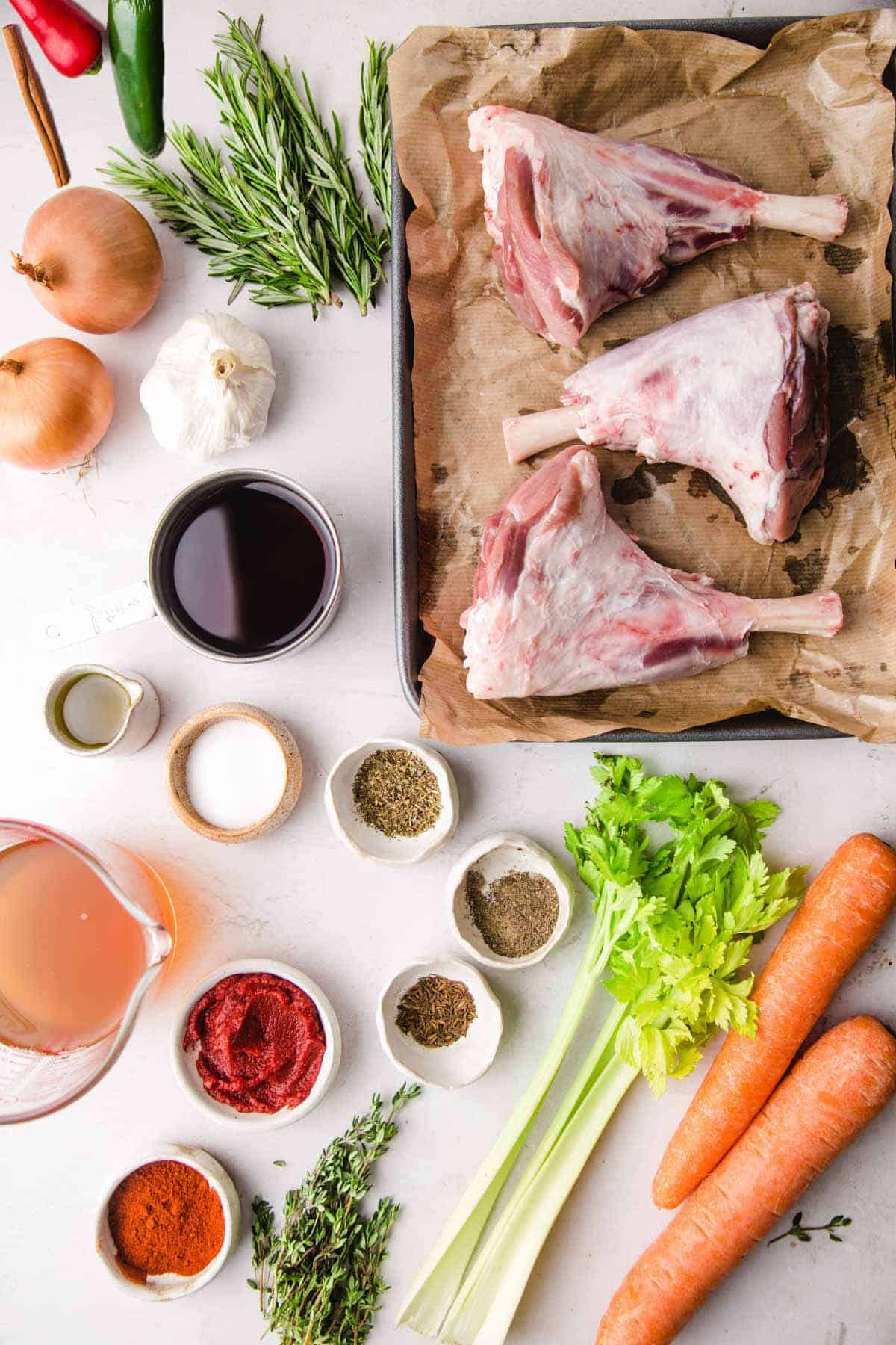 Ingredients needed to make red wine braised lamb shanks