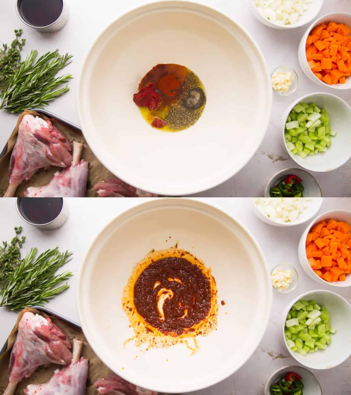 2 images of a bowl of marinade for the lamb shanks, before whisking and after
