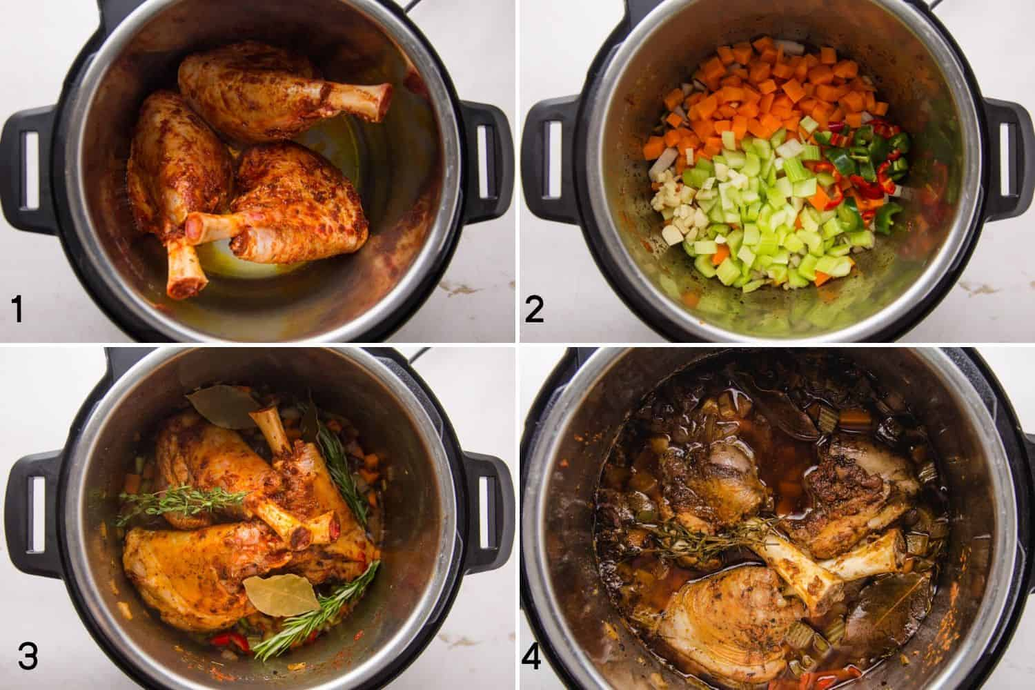 4 steps of how to make lamb shanks in the instant pot