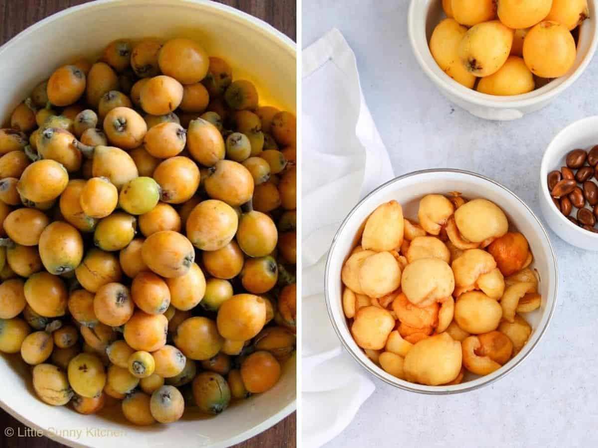 A large bowl with loquats, and a bowl of peeled halved loquats.