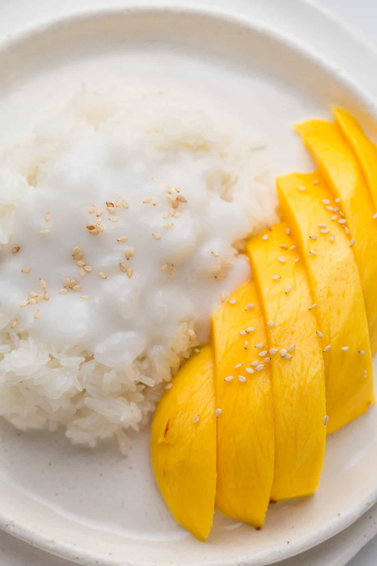 mango sticky rice, a close up