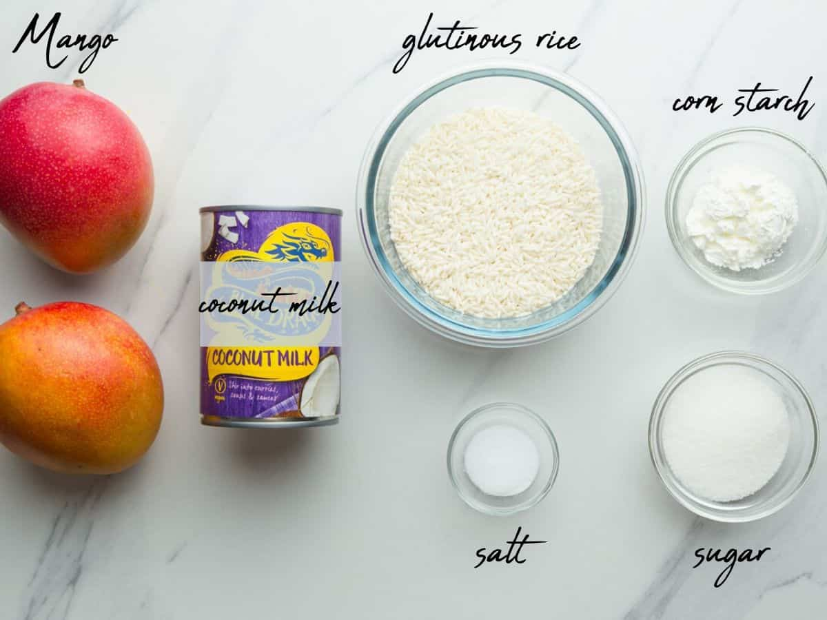 Mango sticky rice ingredients