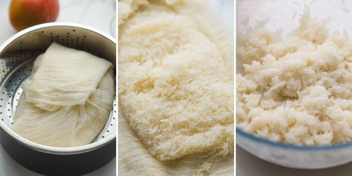 3 images on how to steam the sticky rice