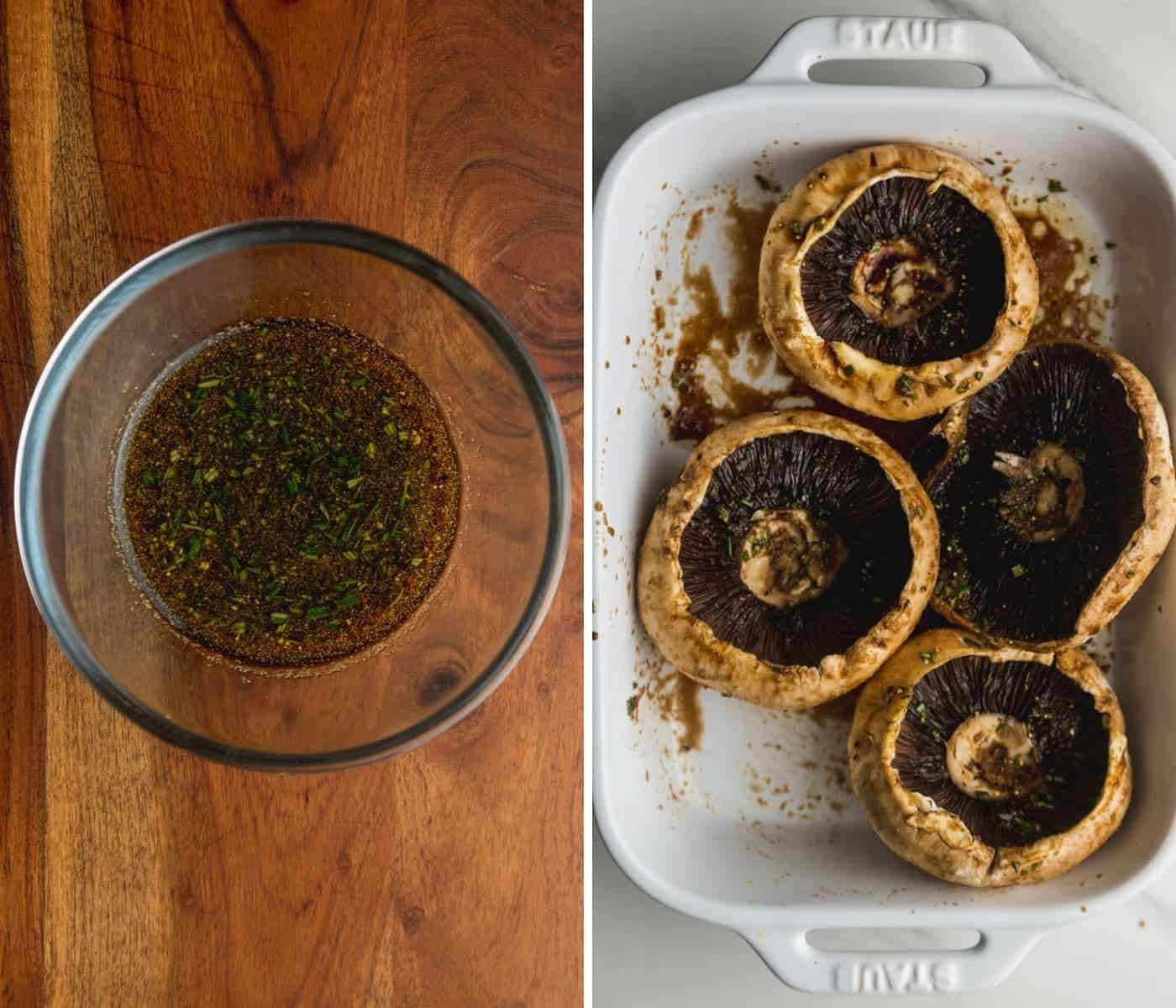 A collage of 2 images, the first one with the marinade in a small glass bowl, and the second one with the portobello mushrooms in a white dish marinating