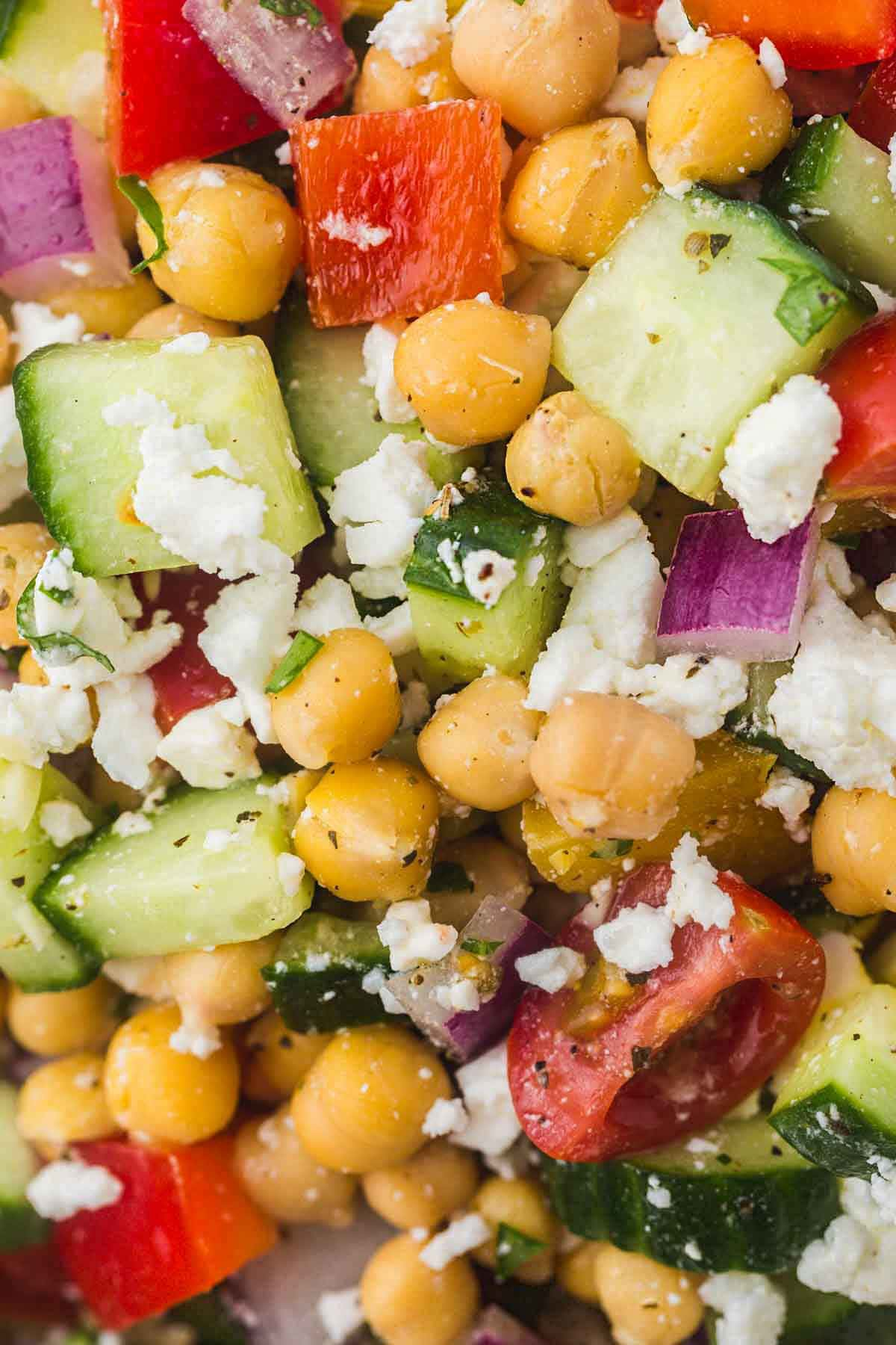 A close up shot of the chickpea salad