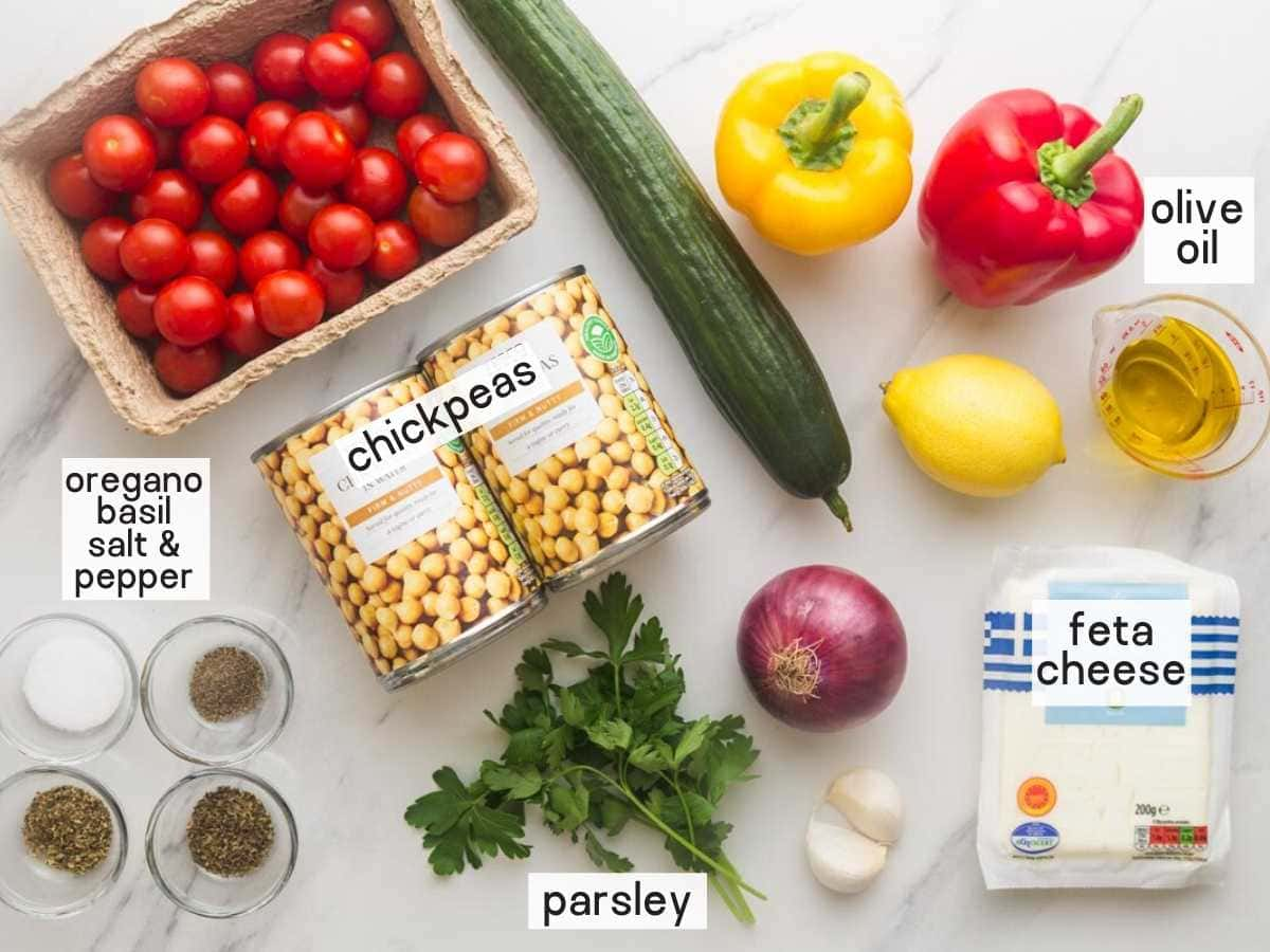 Ingredients needed to make Mediterranean Chickpea Salad