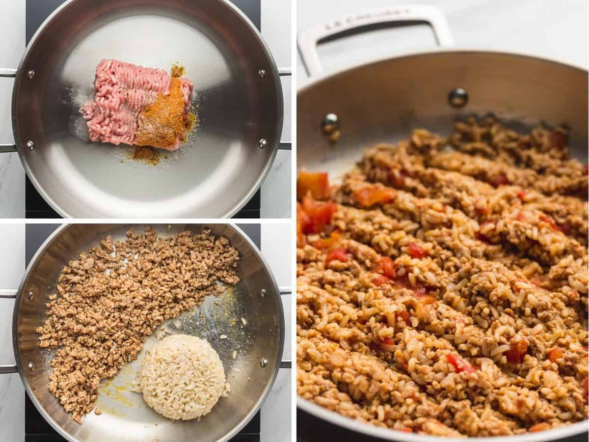 3 images in a collage on how to prepare the turkey rice stuffing