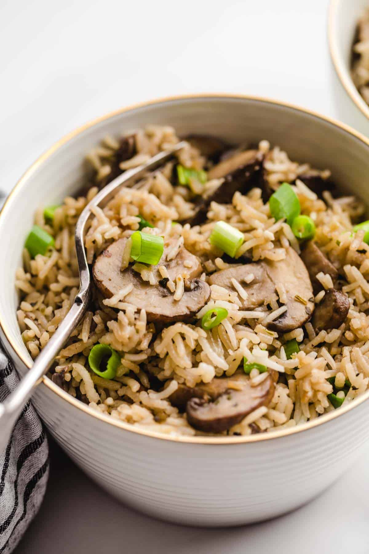 A bowl of mushroom rice garnished with sliced green onions