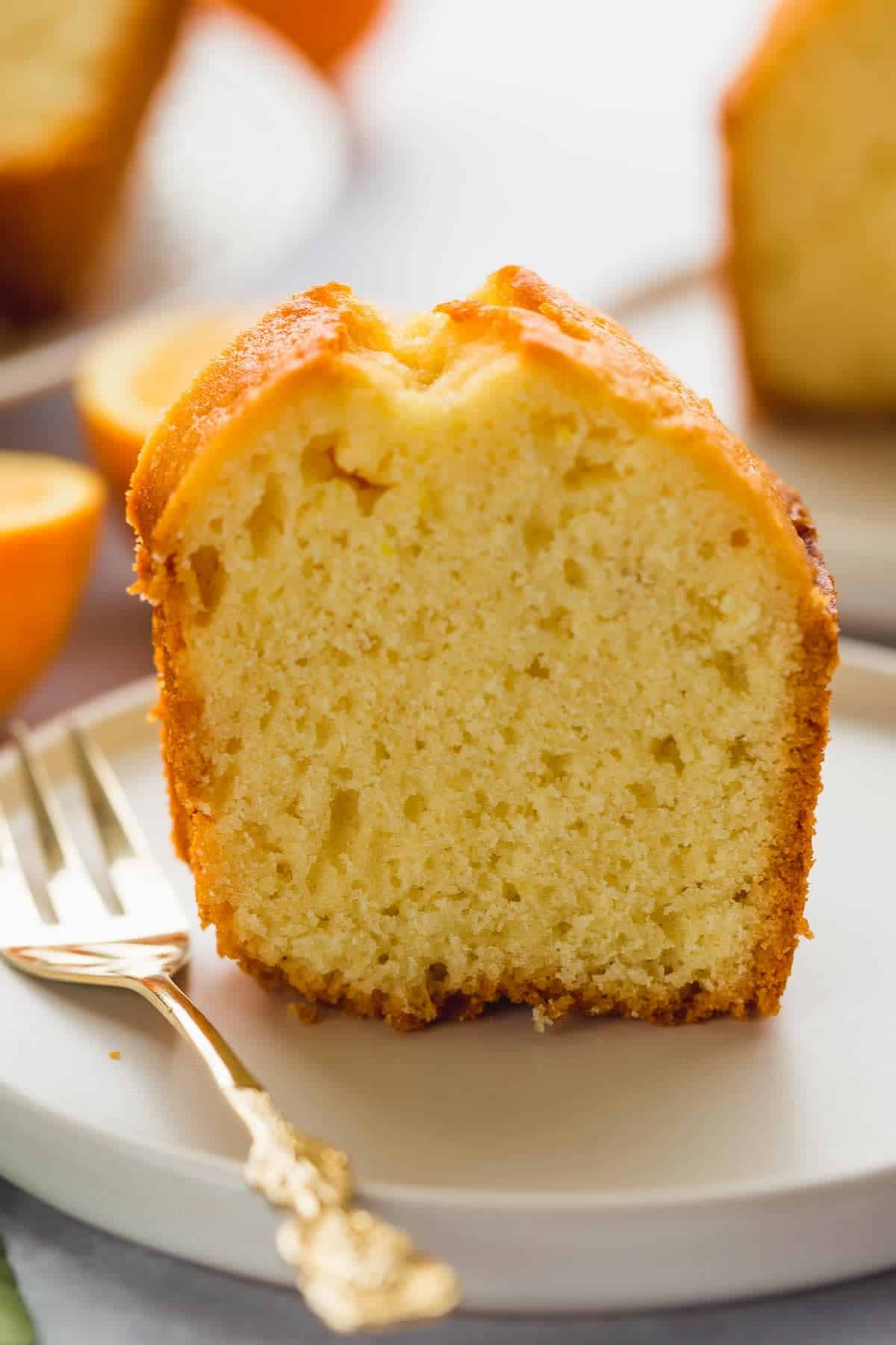 A close up shot of orange juice bundt cake