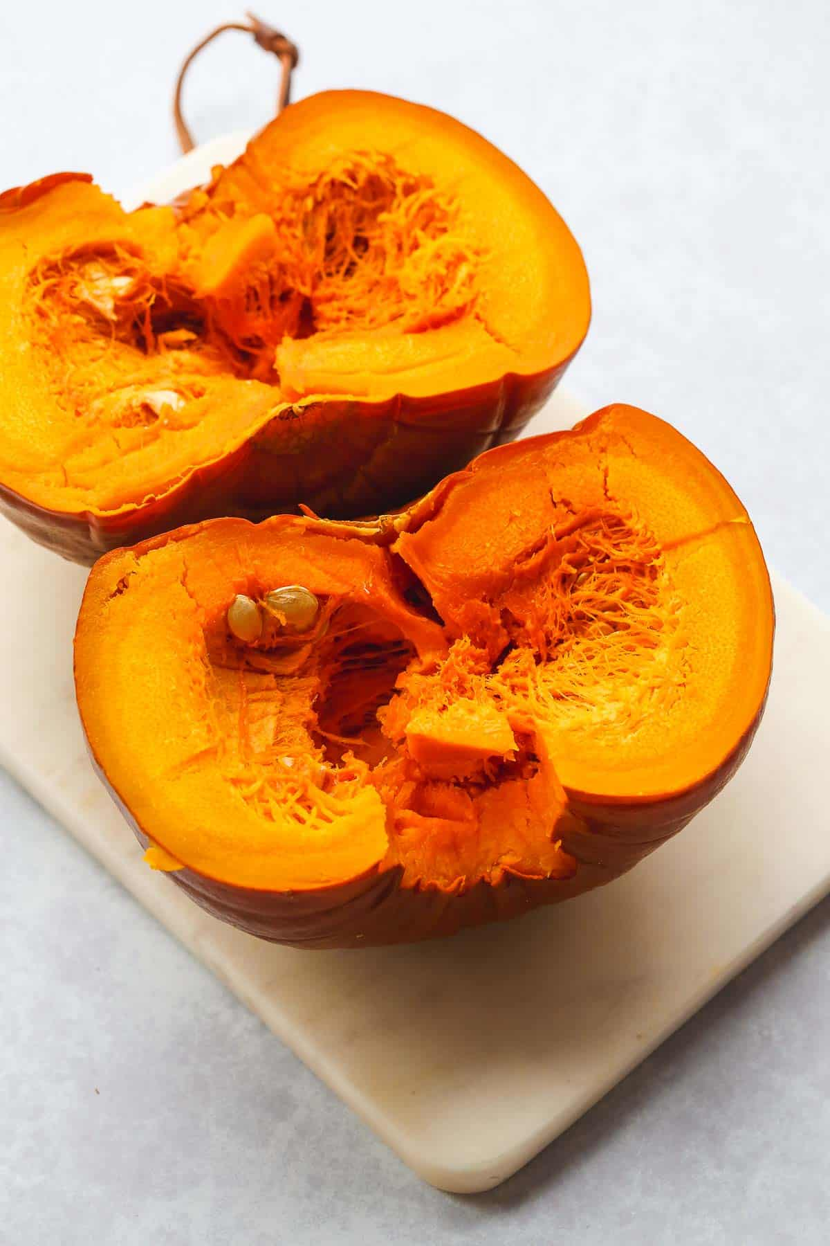 2 perfectly steamed pumpkin halves