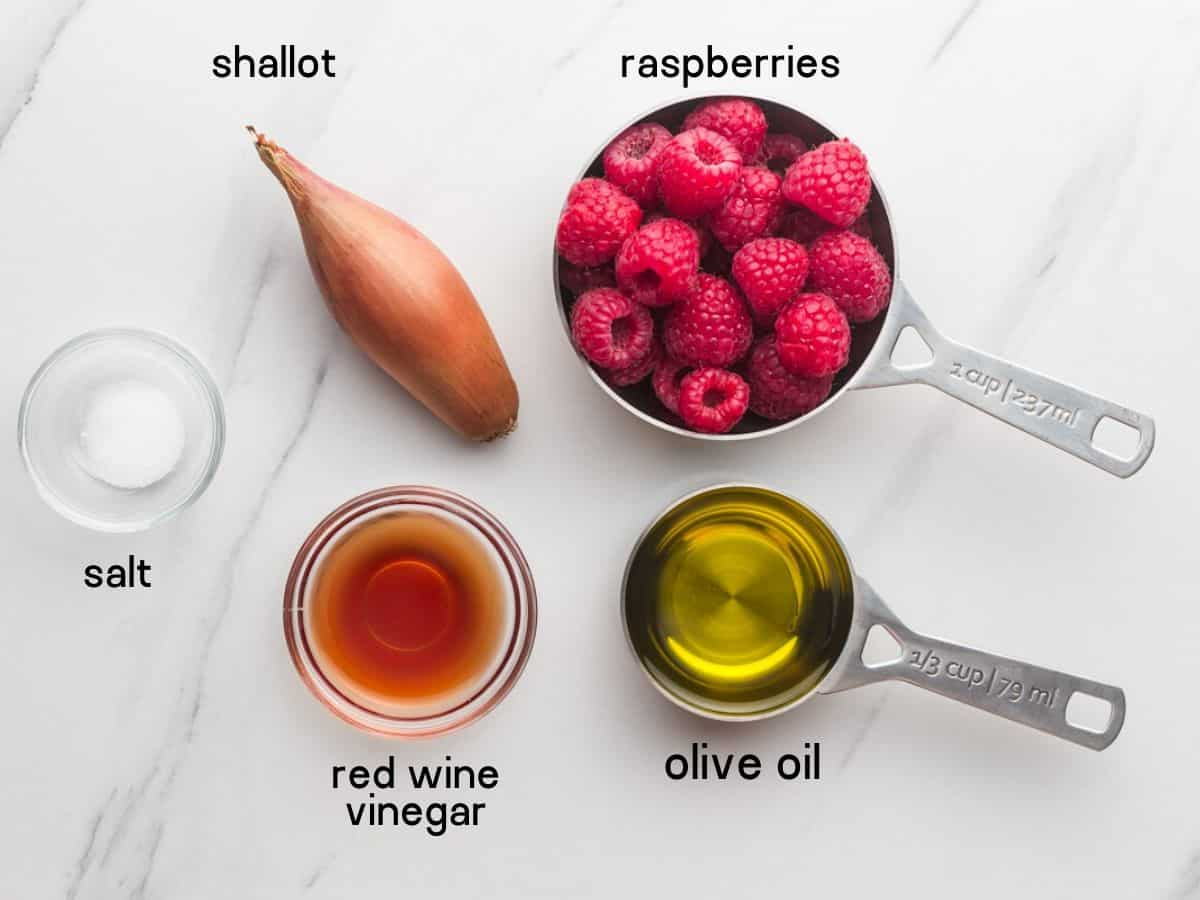 Raspberry Vinaigrette ingredients, what you'll need to make it
