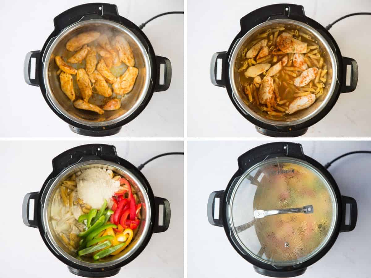 A collage with 4 images on how to make rasta pasta in the instant pot