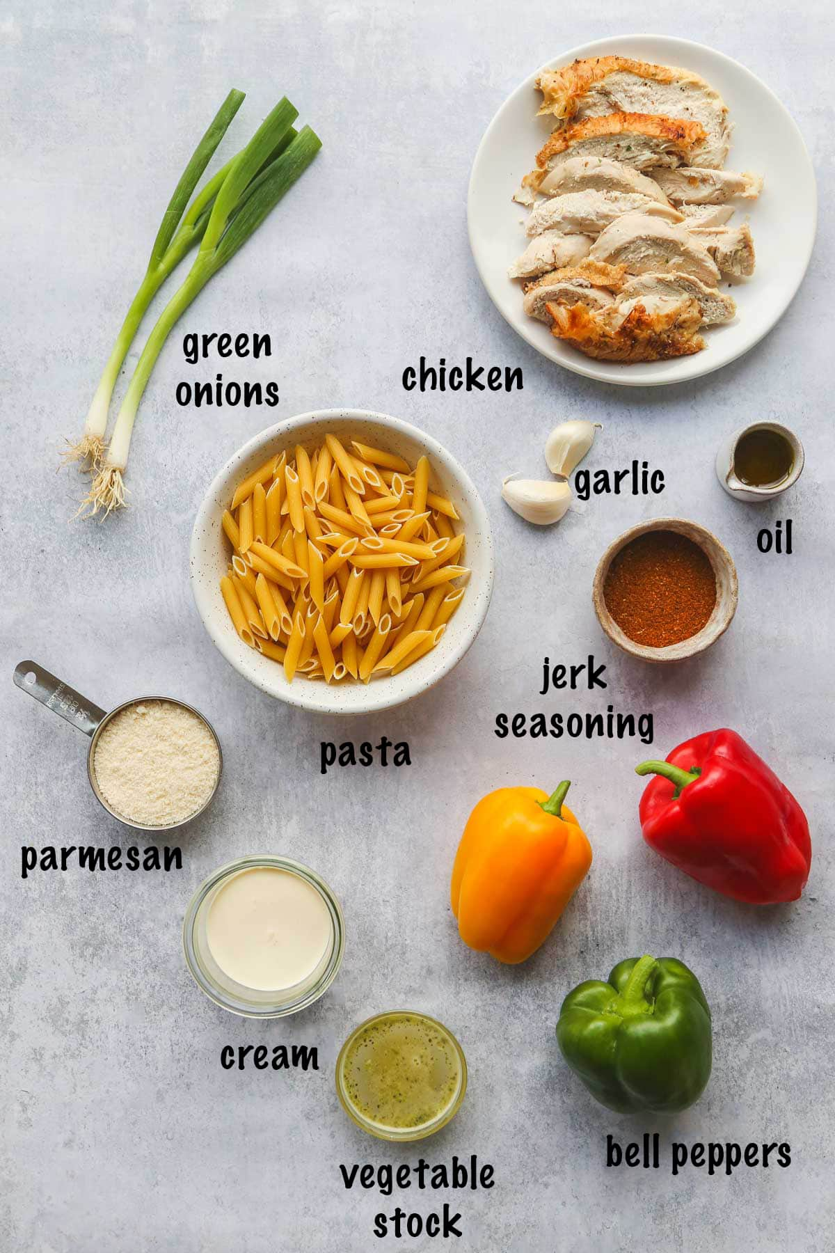 Rasta Pasta ingredients in a picture