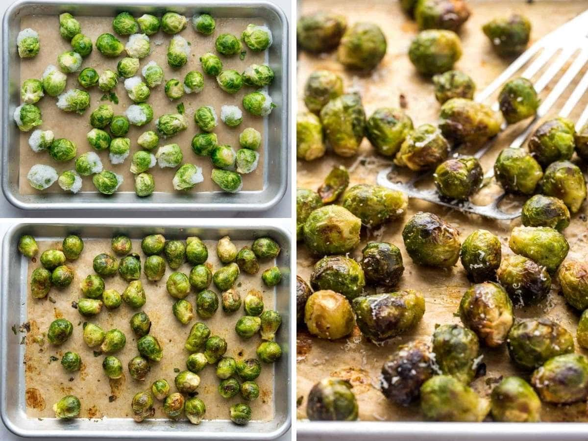 A collage with 3 images to show how to roast frozen brussels sprouts