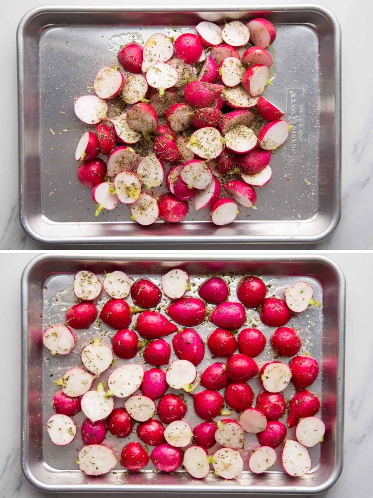 Steps how to season and roast radishes