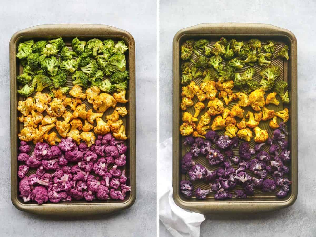 2 images with sheet pans with cauliflower and broccoli, before and after roasting